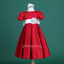 RED/OFF WHITE SHORT-SLEEVE PLEATED WEDDING FLOWER GIRL DRESS 6M-18M 2 3/4 6 8 10