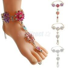 Ladies Fashion Contemporary Foot Jewelry Accessory Diamond Flower Beach Anklets