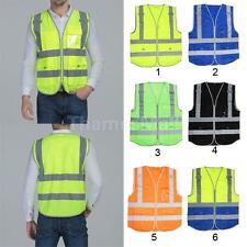 Hi-Vis Day/night Security Safety Vest Reflective Tape Strips Work Wearing XL