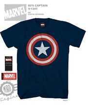 80's Captain America Avengers Movie  Blue Color Licensed T-Shirt
