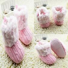 Infant Baby Toddler Crochet Knit Fleece Boots Girl Wool Snow Booties Crib Shoes
