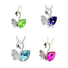 Swan Crystal Necklace Pendant Women Alloy Necklace Earrings Jewelry Set NEW