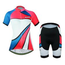 AOGDA Women Fashion Cycling Jerseys Bicycle Short Sleeve Jerseys Sets+Bib Shorts