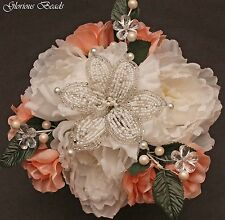 BLUSH PINK / PEACH  Beaded Lily Flower Centerpiece with Peonies, Roses, Pearls