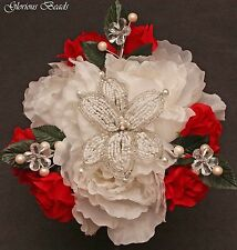 RED Beaded Lily Flower Centerpiece with Peonies, Roses, Crystals  Pearls