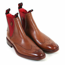 Jeffery West Men's Mainline Heaven Travy Leather Chelsea Boot Mahogany / Red