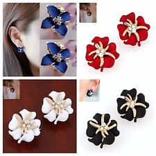 USA- Fashion Lady Elegant Women Cute  Flower Charm Crystal Ear Stud Earrings