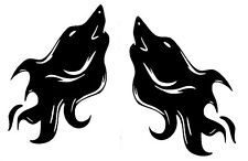 Howling Wolf Pair Flames Funny Car Truck Window Vinyl Decal Sticker 12 COLORS