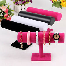 Velvet T-Bar Jewelry Rack Bracelet Necklace Watch Stand Organizer Holder Display