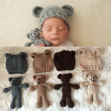Newborn Cute Photography Prop Photo Crochet Bear and Hat Set Baby Shower Gift