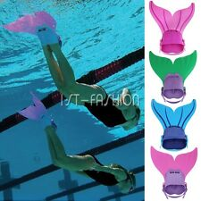 Fancy Kid Girl Swimmable Mermaid tail Monofin Mono Fin Flippers Swimming Costume