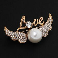 Pretty Love Angell Wing Pearls Design Brooch Pins Costume Jewelry