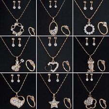 Wedding Bridal Rhinestone Crystal Necklace Earrings Ring Fashion Jewelry Set New