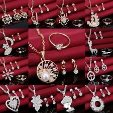 Elegant Crystal Pendant Chain Necklace Earrings Ring Jewellery Set Wedding Gifts