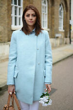 ZARA SKY BLUE WOOL COAT WITH SLIT Size:M  Ref. 1255/025