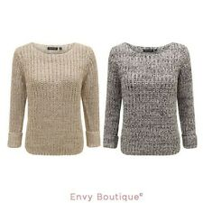 BRAVE SOUL WOMENS LADIES CABLE KNITTED CROP JUMPER SWEATER PULLOVER WINTER TOP