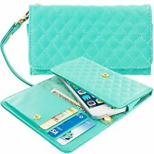 Mint Green Luxury Designer Wallet Flip Case Pouch Holder With Strap For Phones