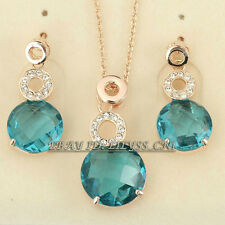 Fashion Simulated Sapphire Earrings Necklace Jewelry Set 18KGP Crystal Rhineston