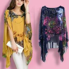 Women Ladies Batwing Sleeve Chiffon Blouse Floral Print Casual Loose Tops