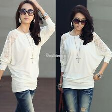 White Women's Ladies Long Sleeve Casual Loose T-Shirt Batwing Tops Blouse W3LE