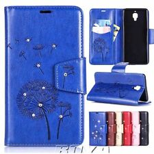 Dandelion diamonded PU wallet leather case smart phone flip cover stand strap