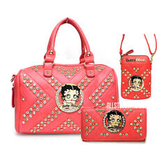 Betty Boop quilted rhinestone PINK wallet cellphone shoulder boxer bag set