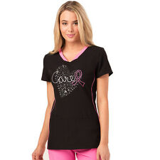 Heartsoul Women's V-Neck Heart Print Scrub HS613 Print Top Free Shipping