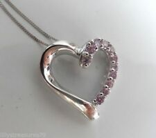 NEW 9ct White Gold Pink Sparkling Heart Pendant & Chain Necklace Ex Argos stock