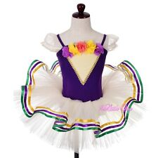 Rosettes Ribbon Trimmed Ballet Tutu Dance Costume Pageant Fancy Dress 3T-8 BA064