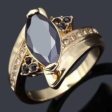 Oval Cut Size 6,7,8,9 Women Black Sapphire 18K Gold Filled Fashion Wedding Rings