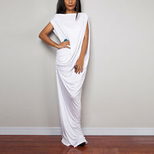 White Fashion Women Sleeveless Asymmetric Party Summer Long Maxi Dress Oversized
