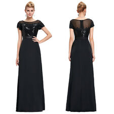 Elegant Long Black Formal Evening Party Prom Dress Cocktail Gown Short Sleeves