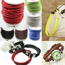 5/20Yards Pure Hand-Woven Braided Leather Cord Necklace Bracelet Making 3mm DIY