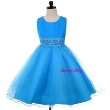 Sequin Pearl Beaded Wedding Flower Girl Pageant Birthday Dress Size 2T-10 FG358
