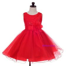 Sequin Beaded Pleated Tulle Pageant Wedding Flower Girl Dresses Size 2T-12 FG345