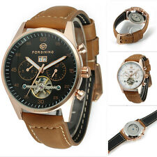 Mens Luxury Leather Band Automatic Mechanical Skeleton Sport Wrist Watch Hot