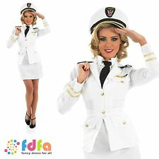 40s WW2 NAVAL OFFICER SAILOR CAPTAIN - 8-26 - womens ladies fancy dress costume