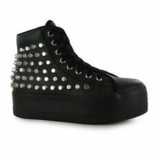 Jeffrey Campbell Play hOMG Platform Shoes Womens Black/Silv Trainers Sneakers