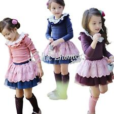 Toddler Girls Kids Long Sleeve Cotton Top + Tutu Skirt Dress Up Outfit Clothing