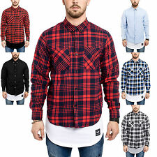 Phoenix Button Down Flannel + Denim Shirt Checked Plaid Men