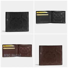 New Coach F75371 Mens Compact ID Wallet In Signature Black Mahogany NWT