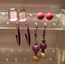 """ESTATE LOT 4 PAIR """"PURPLE TONED"""" EARRINGS -VERY OLD-  COSTUME """"PRICED TO SELL"""""""