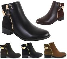 LADIES BLACK SUEDE LEATHER LOW HEEL GOLD BUCKLE FLAT CHELSEA ANKLE BOOTS SHOES