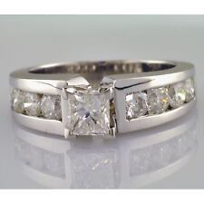 EGL Princess Cut and Round Shape Engagement Ring 3.16 Carat Diamond Channel Set