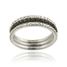 925 Silver 2/5ct Black Diamond Stackable Eternity Band Rings Set