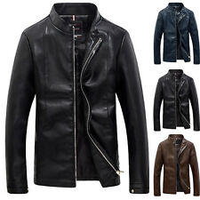 Mens PU Leather Stand Collar Zipper Motorcycle Jacket Coats Outwear Plus Tops