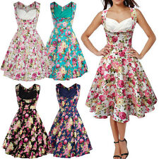 Women Vintage Retro 50s Style Floral Swing Rockabilly Evening Party Pinup Dress