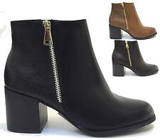 LADIES MID HEEL ANKLE BOOTS FAUX LEATHER ZIP BIKER WORKER FASHION SHOES SIZE 3-8