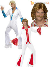 Mens Super Trooper Disco Fever Flares 70s 1970s Fancy Dress Costume Adult + Wig