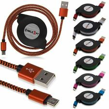 3FT Braided Retractable Micro USB Data Sync Charger Cable For Android Phone Lot